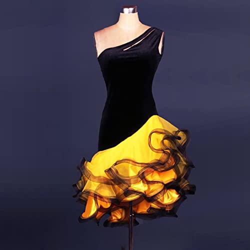 Vestido de Baile Latino Fishbone Elegante Entrenamiento Rendimiento Desgaste Latin Dance Falda sin Mangas,Amarillo,2XLarge
