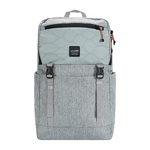Pacsafe Slingsafe LX500, Anti-Diebstahl Rucksack, Daypack mit Sicherheitstechnologie, 21 Liter, Grau Meliert/Tweed Grey