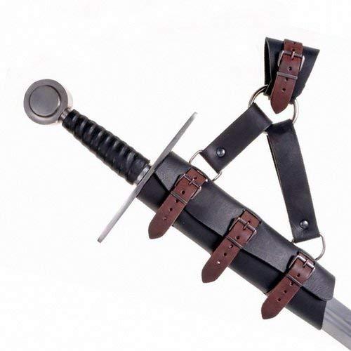 Pera Peris LARP-Schwertgehänge mit Ring im Stil des Mittelalters aus Leder Farbe schwarz-braun