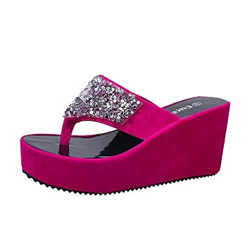 Womens Anti-Slip Slippers Water Diamonds Hull Muffin Thick Bottom Slippers-Pink_36 Anti Slip Indoor Outdoor Home Slippers