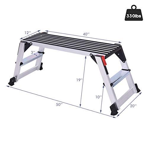 Giantex Aluminum Platform Non-Slip Folding Work Bench Drywall Stool Ladder 330lbs Capacity