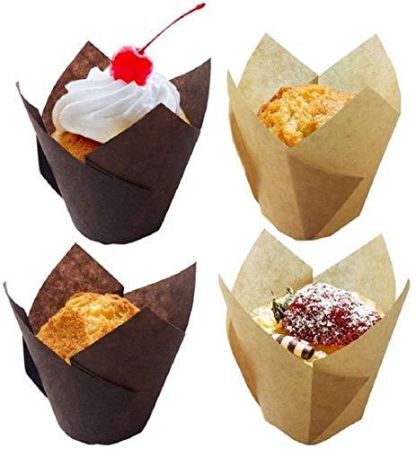 Heatigo Tulip Cupcake Liner, 100 Stück Tulip Cake Paper Cup Backen Haushaltsölfest und Hochtemperatur-Tesistant für Brot- und Dessertpapier