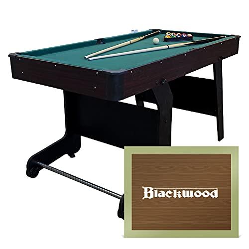 Blackwood Mesa de billar plegable Junior de 5 pulgadas, para niños, mesa de billar con accesorios, incluye juego de tacos, bolas, triángulo y tiza, 152 x 76 x 78 cm