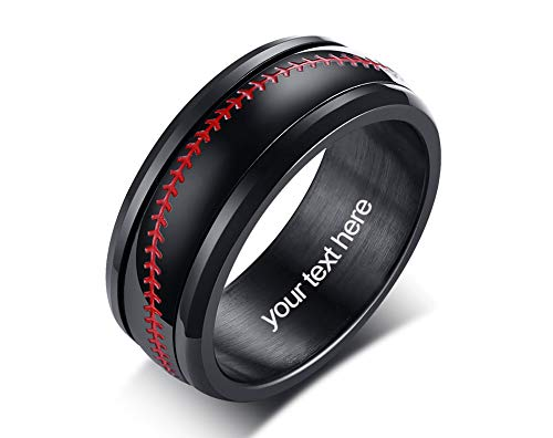 VNOX Grabado Personalizado Unisex Acero Inoxidable 8MM Béisbol/Softbol Spinner Band Anillo Anillo de Bodas,Regalo Baseball para FFanáticos del Béisbol