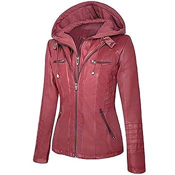 Seamido Veste de moto en cuir synthétique avec fermeture Éclair et capuche pour femme - Rouge - S