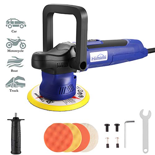 Himimi Polisher 6 Inch Car Buffer Orbital Polisher with 6 Variable Speed 20006400RPM Detachable Handle 4 Pads Ideal for Cars Boats Furnitures Polishing Sanding and Waxing