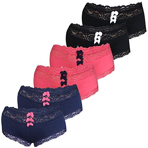 LOREZA ® 6er Set Damen Panties Unterwäsche mit Spitze Baumwolle (42, Modell 1-6 STÜCK)