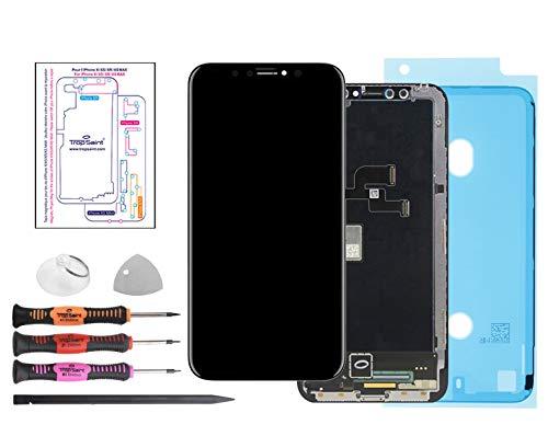 Trop Saint® Display OLED Für iPhone 10 X Bildschirm Komplett Schwarz mit Magnetische Schraubenkarte, Werkzeug und Dichtung Wasserdicht