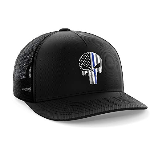 Tactical Pro Supply American Flag Snapback Hat - Embossed Logo American Cap for Men Women Sports Outdoor - Black (Punisher Blue Line)