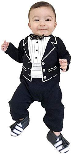 Disfraz de frack - mono - mono - bebé - bebé - mameluco - caballero - manga larga - pajarita - ocasión - blanco y negro - 6/12 meses - talla 80 - idea de regalo para cumpleaños de navidad