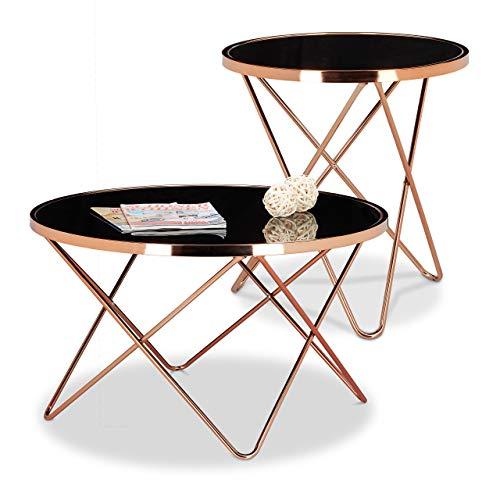 Relaxdays 2 TLG. Beistelltisch Set Copper, Couchtisch Schwarzglas, Glastisch Kupfer, Sofatisch rund, Wohnzimmertisch Glasplatte