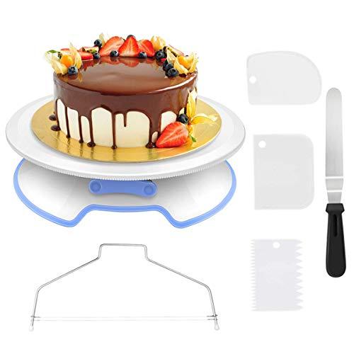 Queta Cake Maker Kit Utensili per Cupcake fai da te, Piatto girevole per torte con 1 Kit di Piastre angolari, 3 Piatti Torte Satinati per Cuocere Dolci, Zuccheriera, Biscotti