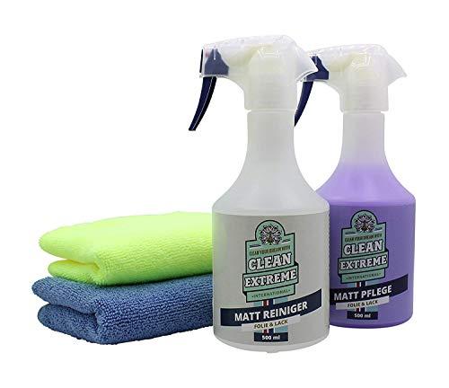 CLEANEXTREME Set Mattlack Reinigung & Pflege Finish-Box - Reinigen, Pflegen, Versiegeln von Matt-Lack & Mattfolie - Pflege Spray, Reiniger & Zubehör