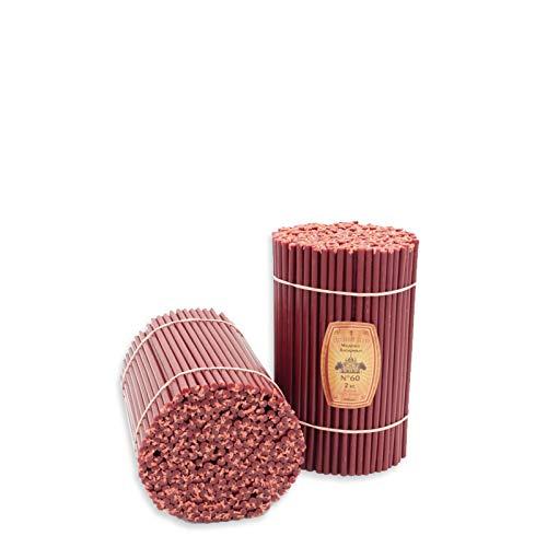 Diveevo No60 - Velas de cera de abeja (300 unidades, 205 mm de largo, 6,6 mm de diámetro, tiempo de combustión: 1 hora, 20 minutos), color rojo