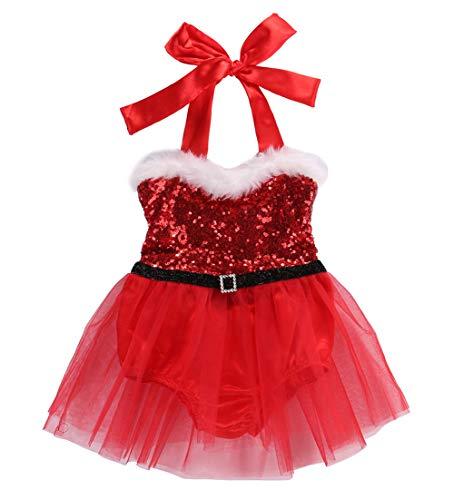 Loalirando Neugeborenen Baby Mädchen Festlich Weihnachten Kleidung Pailetten Samt Party Prinzessin Kleid (2-3 Jahre, Neckholder)