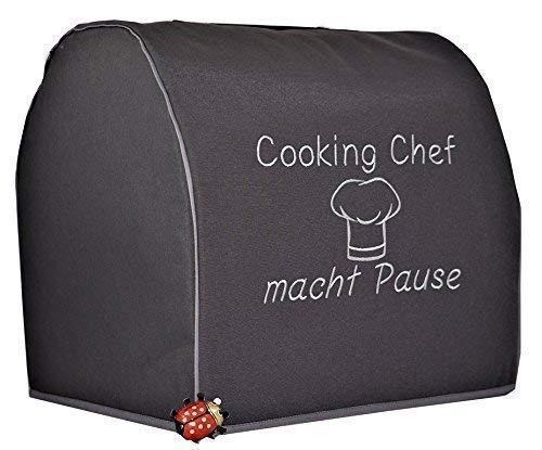 Abdeckhaube für Kenwood Cooking Chef Gourmet, Dunkelgrau mit silbergrau Mod. Cooking Chef macht Pause, Kochmütze, Henkel Stickerei,