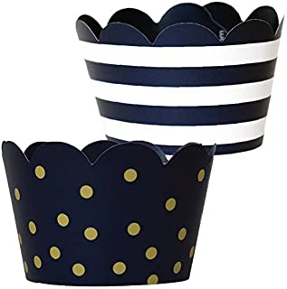 Navy Blue Cupcake Decorations - 36 Reversible Dark Blue and Gold Cupcake Wrappers | Nautical Baby Shower, Military Retirement, Police Birthday Party, Graduation 2019
