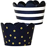 Navy Blue Cupcake Decorations - 36 Reversible Dark Blue and Gold Cupcake Wrappers   Nautical Baby Shower, Military Retirement, Police Birthday Party, Hanukkah, Graduation 2021
