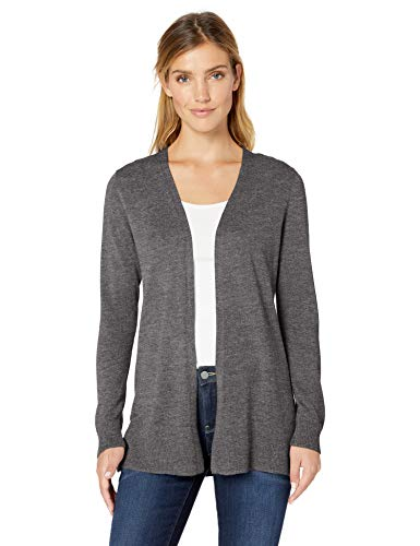 Amazon Essentials Damen-Strickjacke, leicht, mit offenem Vorderteil, Grau (Charcoal Heather Cha), US S (EU S-M)