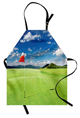 Lunarable Sports Apron, Golf Field Flag in The Hole Clouds Sky Summertime Golfing Landscape, Unisex Kitchen Bib with Adjustable Neck for Cooking Gardening, Adult Size, Lime Green
