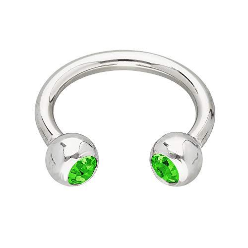 Treuheld® | Silbernes Hufeisen Piercing Ring mit Kristallen - [45.] 1.2 x 6 mm (Kugeln: 3mm) - grün