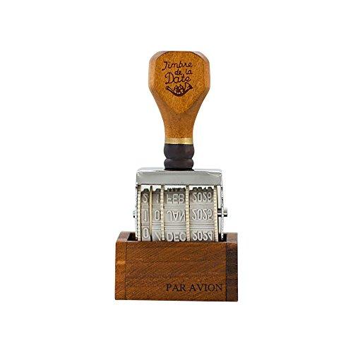 Vintage Plastique Rolling Stamp mois Date DIY Roue timbres marron