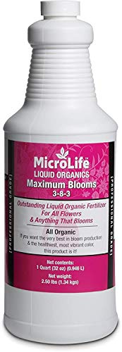 MicroLife Maximum Blooms (3-8-3) Professional Grade Organic Liquid Fertilizer Concentrate for All Flowers and Anything That Blooms, 1 Quart