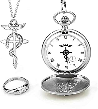 NORTHEN 1 X Cosplay Full Metal Alchemist Edward Elric Pocket Watch Cross Snake Necklace and Ring