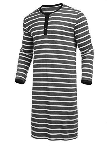Nachthemd Herren Langarm Einteiliger Schlafanzug Gestreift Pyjama Streifen Schlafanzugoberteil Knopfleiste Herrennachthemd Sleepshirt