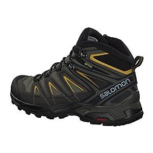 Salomon Men's X Ultra 3 Mid GTX Hiking Boots, Castor Gray/Black/Green Sulphur, 10.5