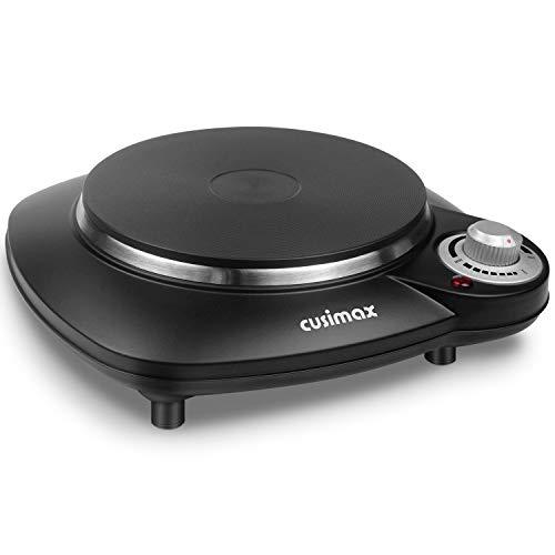 CUSIMAX Einzeln-Kochplatte Elektrische, 1000W Gusseisen Kochfeld 1 Platte, Automatische Thermostatregelung Überhitzungsschutz, Schwarz Herdplatte Elektrisch mit Rutschfeste Gummifüße