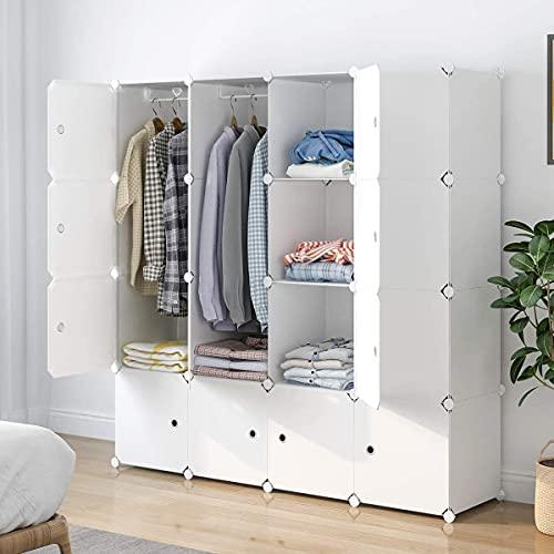 SIMPDIY Portable Kleiderschrank, Faltschrank mit hängendem Rod, modularer Kombischrank für hängende Kleidung, 16 Würfel Platzsparendes Steckregalsystem, Platzsparende Garderobe (weiß)