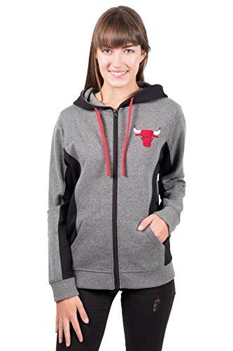 Unk NBA Dime NBA - Sudadera con Capucha para Mujer, con Cremallera Completa, diseño de Chicago Bulls, Gris/Negro, Gris