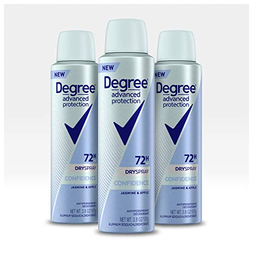 Degree Advanced Protection Antiperspirant Deodorant Spray 72 HR Wetness Protection Confidence Strongest Antiperspirant Spray for Excessive Armpit Sweat, 3.8 oz, Pack of 3