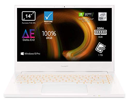 "Acer ConceptD 3 CN314-72 - Ordenador Portátil 14"" Full HD, Laptop (Intel Core i7-10750H, 8GB RAM, 1TB SSD, NVIDIA GTX 1650, Windows 10 Pro), PC Portátil Color Blanco - Teclado QWERTY Español"