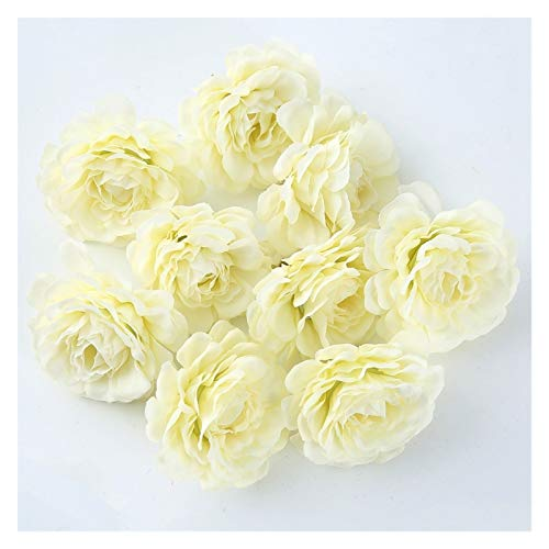 Youpin 10pcs / Lot 5cm künstliche Blume Seide Rose Kopf Hochzeit Partei DIY Blume Wand Scrapbook Geschenk-Box Handwerk Hause Dekoration (Color : Milky White)
