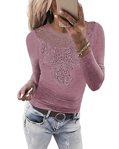 YOINS Seksowna koszulka damska z długim rękawem, bluzka koronkowa dla kobiet, ludowa bluzka koronkowa, modna, patchwork, koszulka