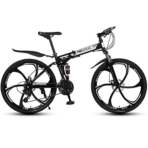 Bicicleta MontañA para Adultos 24/26 Pulgadas Bicicleta Plegable A Campo Traviesa Doble Amortiguador Bicicleta para Adultos 21/24/27 Velocidades Freno Disco Bicicleta De Carretera