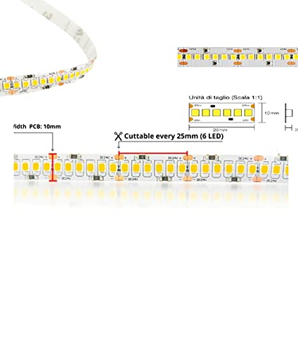Tecno & Led - Strip Led Striscia 140W Luce Naturale/Calda/Fredda- NUOVA Striscia Led 28W/mt 24V PCB 10mm Bobina Da 1200 SMD 2835 (Bianco caldo 3000K)
