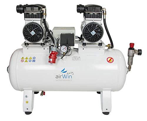 Airwin - Compressore d'aria silenzioso senza olio, 1,1 + 1,1 kW/400 V, 8 bar, 100 l, potenza di aspirazione 400 l/min, 68 dB (A)