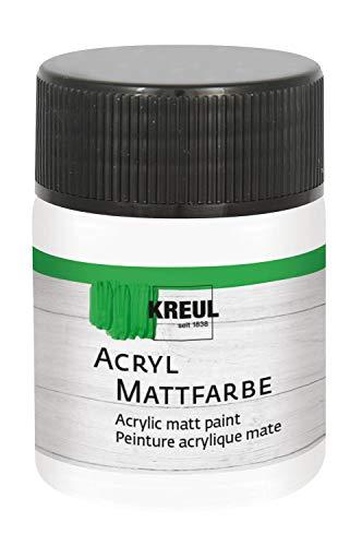 Kreul 75501 Acryl Mattfarbe, cremig deckende, schnelltrocknende Farbe auf Wasserbasis, für viele verschiedene Untergründe geeignet, im 50 ml Glas, weiß