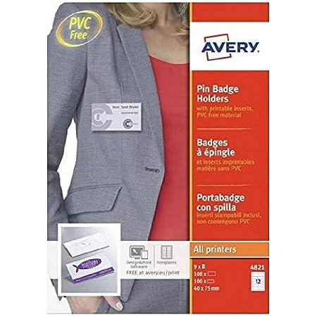 AVERY - Boite de 100 porte-badges à épingle en plastique souple transparent, 108 inserts imprimables fournis, Format 75 x 40 mm, Impression laser / jet d'encre, (4821)