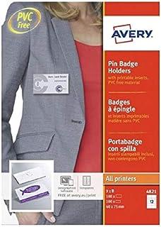 AVERY - Boite de 100 porte-badges à épingle en plastique souple transparent, 108 inserts imprimables fournis, Format 75 x ...