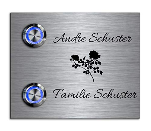 2-voudige deurbel dubbele bel met twee knoppen en naam gravure familiehuis roestvrij stalen belplaat voor 2 gezinnen 11 x 9 cm met meer dan 70 motieven Model: Schuster