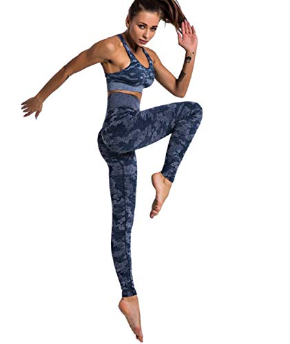 CrisKat Sportbekleidung für Damen, kurzärmelig, 2-teilig, hohe Taille, Yoga, Gym Wear, Blau S
