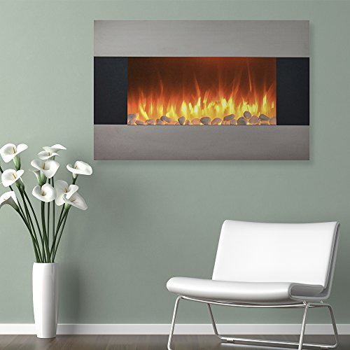 "Northwest Stainless Steel Electric Fireplace with Wall Mount and Floor Stand and Remote, 36 Inch, 36"", Sterling Silver"