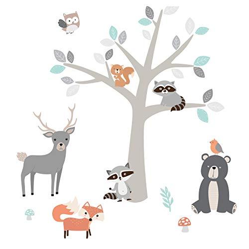 Little Deco Aufkleber Waldtiere Kinder & Baum I Wandbild 89 x 54 cm (BxH) I Fuchs Hirsch Waschbären Wandtattoo Babyzimmer Junge Wandsticker Kinderzimmer Tiere DL524