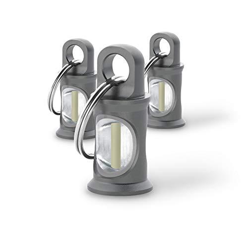 KHS TRIGATAG® KHS.TTGRA3.SR3 Anhänger grau mit H3-Tritium-Gaslichtquelle, inkl. Schlüsselring, 3er Set