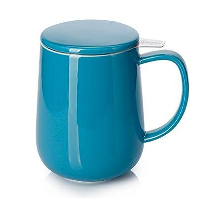 Sweese 204.107 Porcelain Tea Mug with Infuser and Lid, 20 OZ, Steel Blue