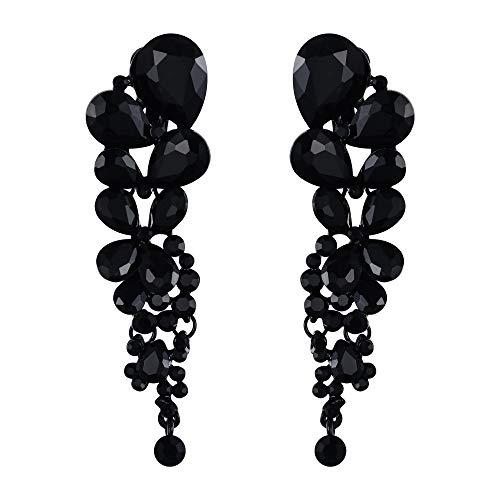Ever Faith, eleganti orecchini pendenti da donna a forma di goccia d'acqua con cristalli austriaci e base metal, colore: Colore: nero., cod. 13001478-11